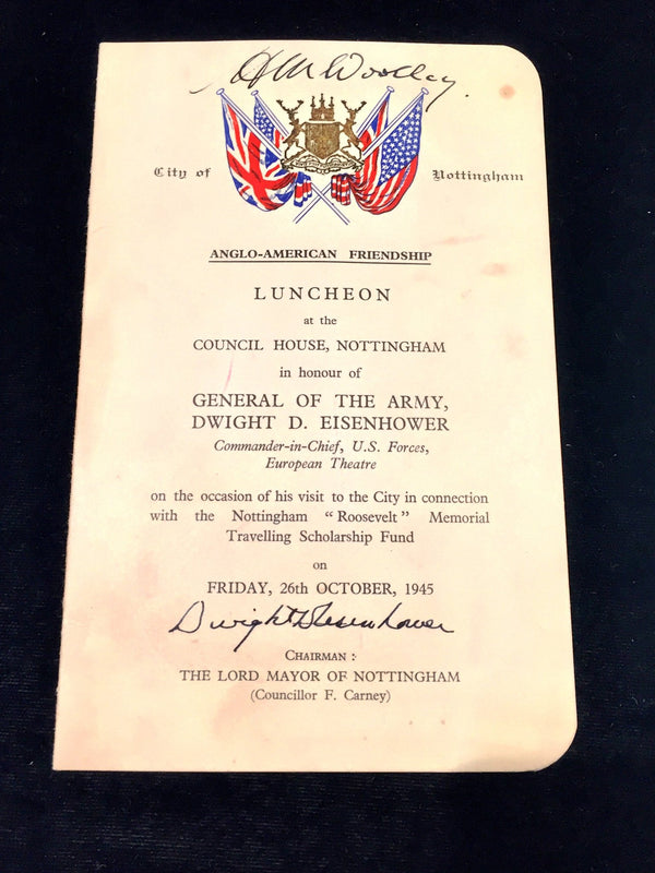 1945 Luncheon Invitation Honoring President Dwight D. Eisenhower to City Councilman H.W. Woolley - $5K VALUE*