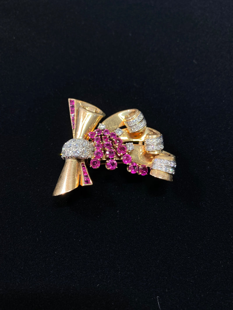 1940s Art Deco RG  47 Diamond/29 Ruby Stylized Bow Brooch/Fur Clip w $25K COA!}