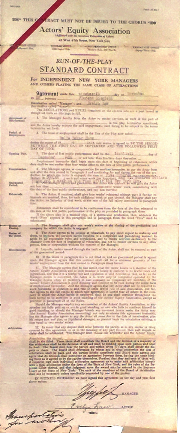 Florenz Ziegfeld Contract with Ziegfeld Follies Actress Evelyn Law for Belle Baker Show 1926 - $10K VALUE