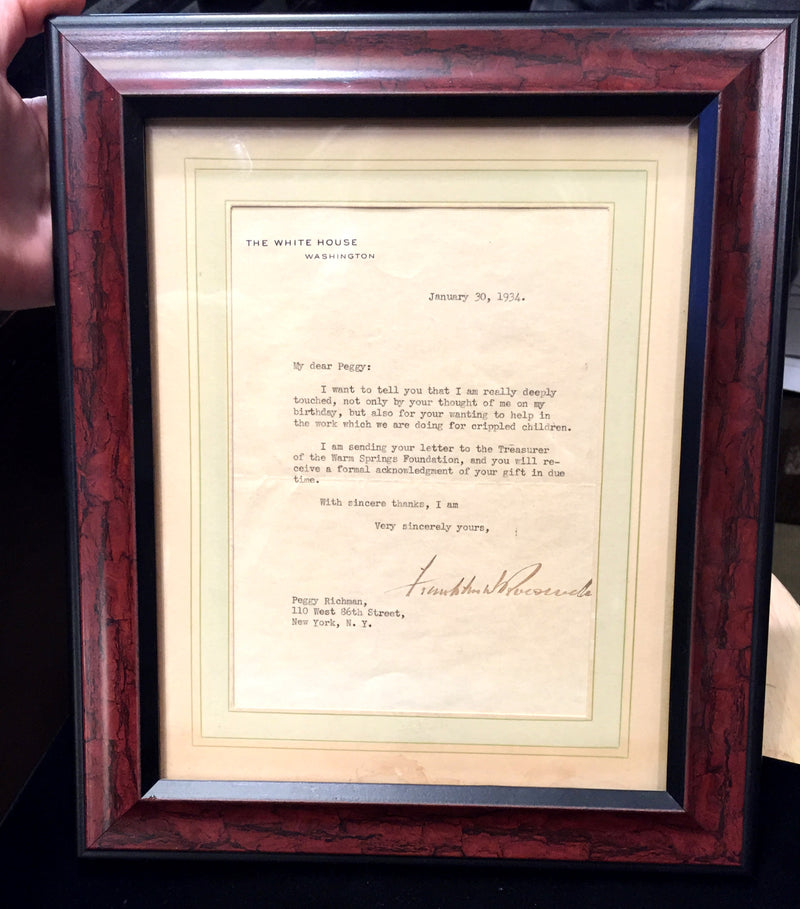 President Franklin D. Roosevelt Very Personal Letter to Warm Springs Institute Benefactor - $20K VALUE