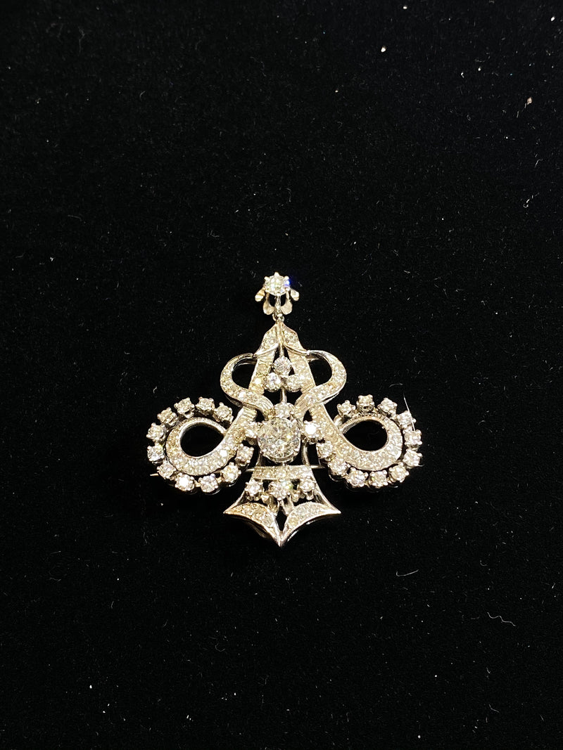 Stunning 1920s Victorian Design WG 70 Diamonds Pendant/Brooch/Pin w $60K COA!!!}