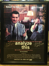 "1999 ""Analyze This"" Movie Poster Signed Robert De Niro & Billy Crystal Framed  - $3K VALUE"