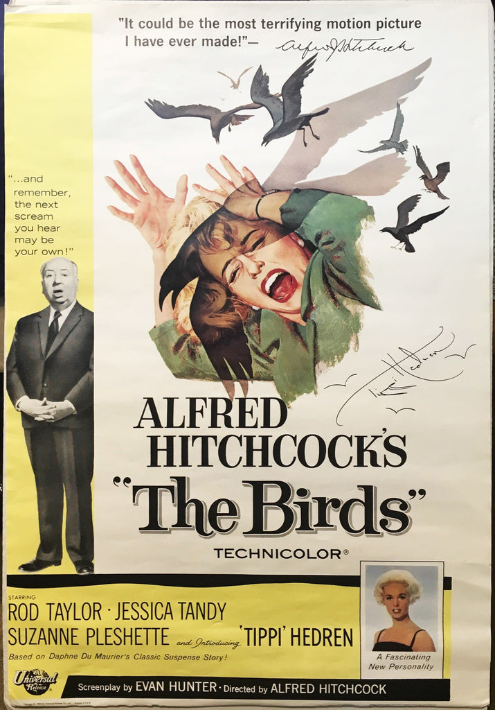 """The Birds"" 1963 by Alfred Hitchcock Movie Poster Framed Signed by Tippi Hedren - $2K VALUE"