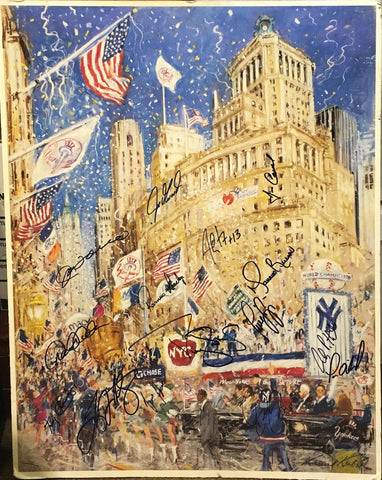 NY Yankees Parade World Champs 1996 Signed by 15 Players Print of Pastel Drawing by Kamil Kubik - $10K VALUE
