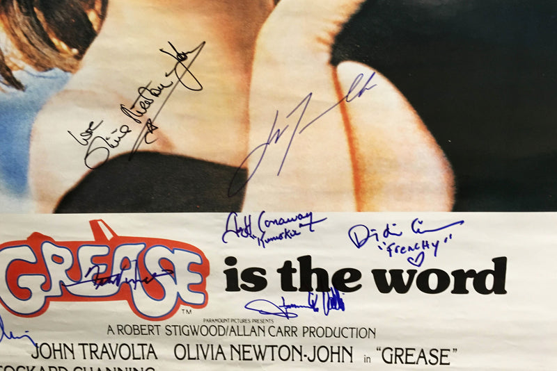 """Grease"" 1978 Movie Poster, Signed by Cast! John Travolta Olivia Newton -John Etc. - $1K VALUE"