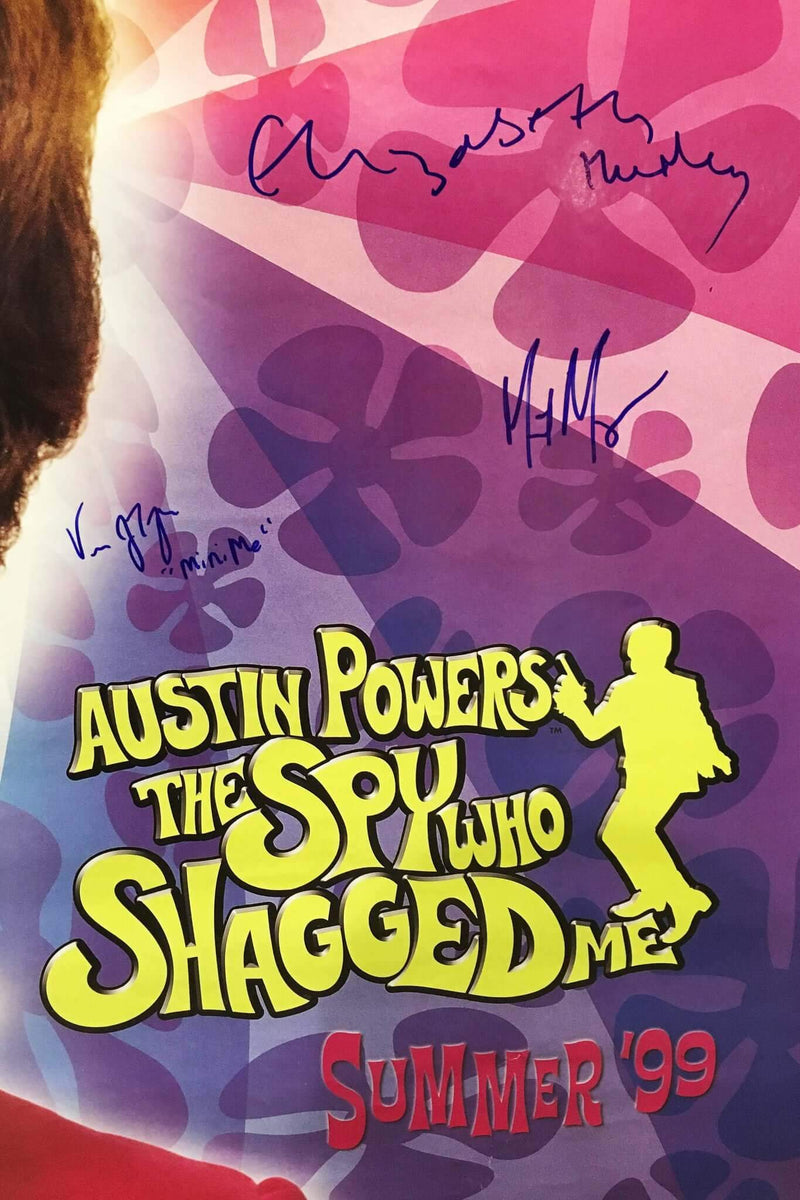 """Austin Powers: The Spy Who Shagged Me"" 1999 Movie Poster Signed by Mike Myers Elizabeth Hurley Verne Troyer - $600.00 VALUE*"