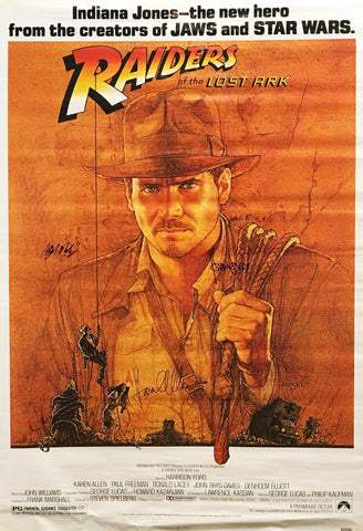 """Raiders of the Lost Ark"" 1981 Indiana Jones Movie Poster Signed by Harrison Ford Karen Allen Alfred Molina - $K VALUE"