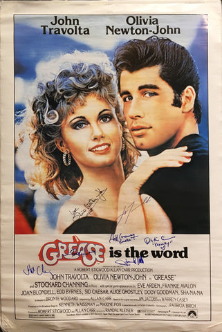 """Grease"" 1978 Movie Poster Signed by Cast John Travolta Olivia Newton-John Etc. - $1,000.00 VALUE"