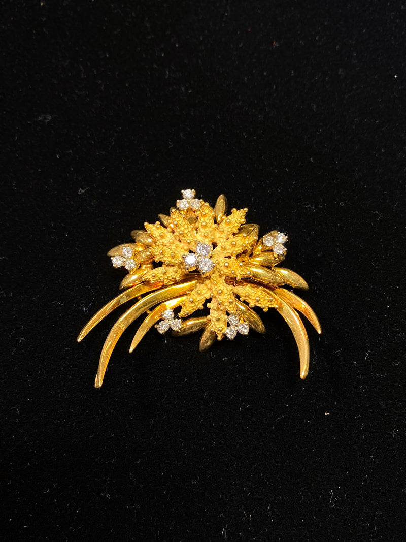 Buccelatti Style 1950's French Design 18KYG 18 Diamonds Brooch/Pin w $20K COA!!}