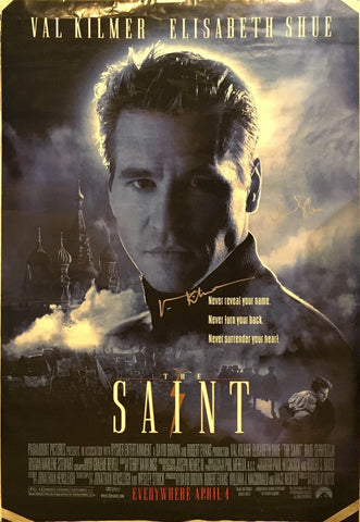 """The Saint"" 1997 by Phillip Noice Movie Poster Signed by Val Kilmer and Elizabeth Shue - $2K VALUE"
