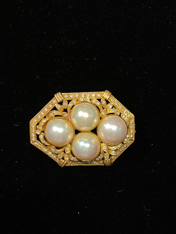 1930's Style Victorian YG 85 Diamonds 4 Mabe Pearl Octagon Pendant w $13K COA!}
