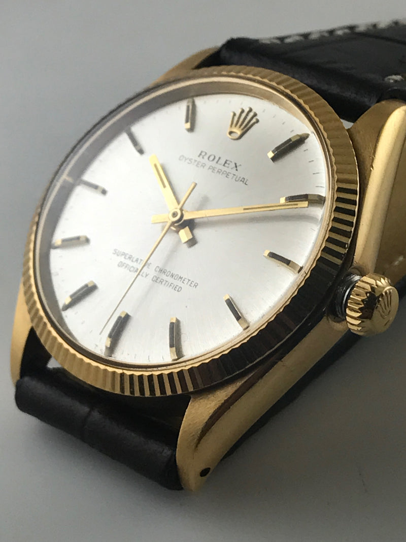 ROLEX Oyster Perpetual Wristwatch in 18K Yellow Gold w/ Rare Silver Dial - $30K VALUE