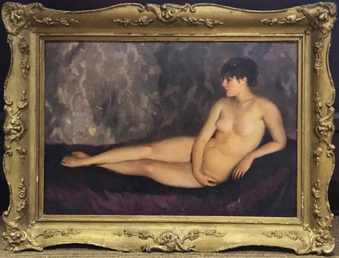 "Pal Javor ""Resting Woman"" Signed Framed Hungary Oil on Board, Circa 1910's - $10K VALUE"