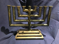 Chanukiah Menorah 9-Branched Candlestick in 975 Sterling Silver, Art Deco, c.1940's - $30K VALUE*