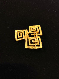 Lalaounis Style 1970s18K Yellow Gold Textured Greek Key Brooch/Pin w $13K COA!!}