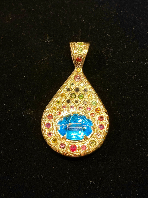 Designer's YG Faceted Blue Topaz 38Multi-Colored Stones Drop Pendant w $20K COA}