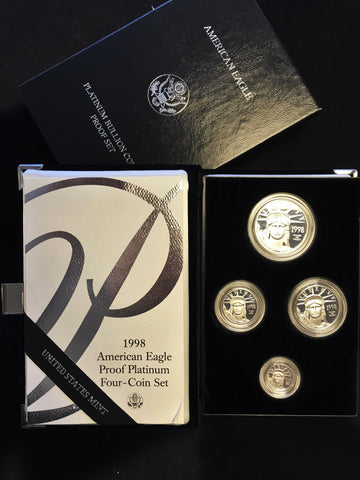 1998 W American Eagle Proof Platinum Four-Coin Set w/COA, Original Box - $6K VALUE