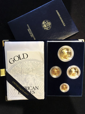 1996 W American Eagle Proof Gold Four-Coin Set w/COA, Original Box - $6K VALUE