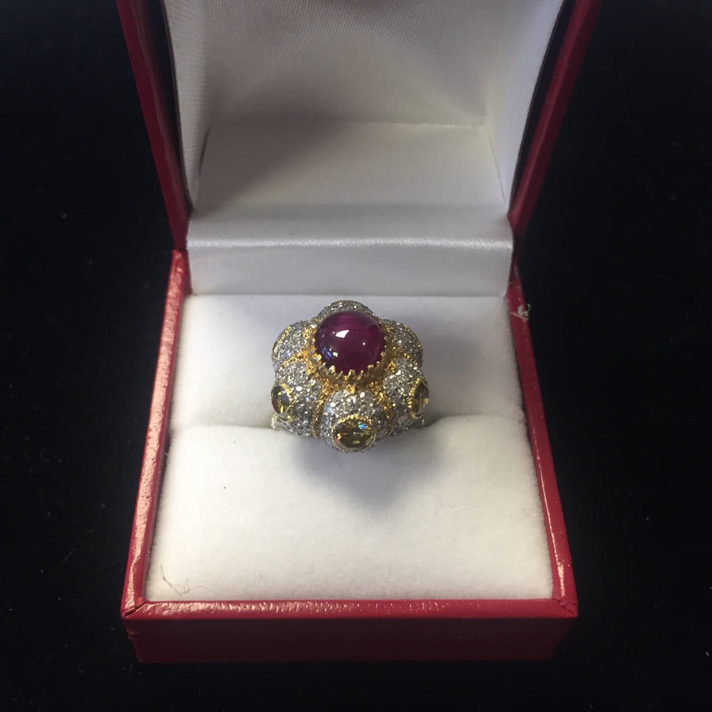 Buccellati Lady's Star Ruby Fancy Yellow Diamonds 18K YG Ring! w/COA APR $57K!!