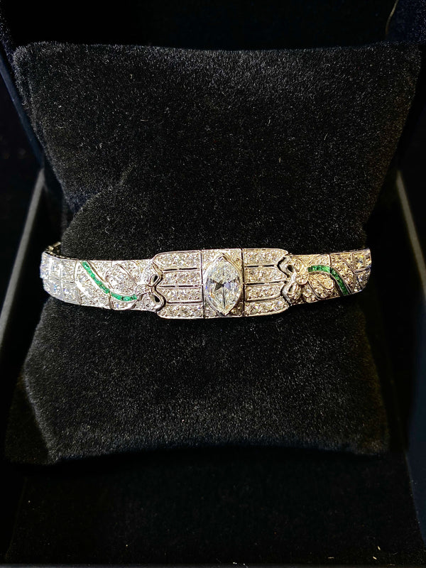 BEAUTIFUL Intricate Art Deco Platinum Bracelet w/ 160 Diamonds/Emerald - $200K VALUE w/ CoA!