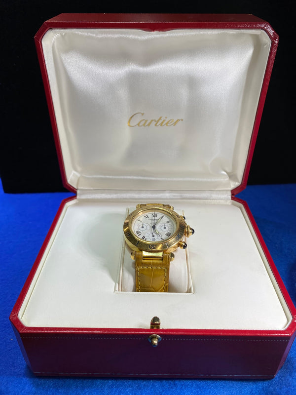 CARTIER Pasha Large Chronograph/18K Yellow Gold w/Sapphires!/Rare/COA/APR $50K!^