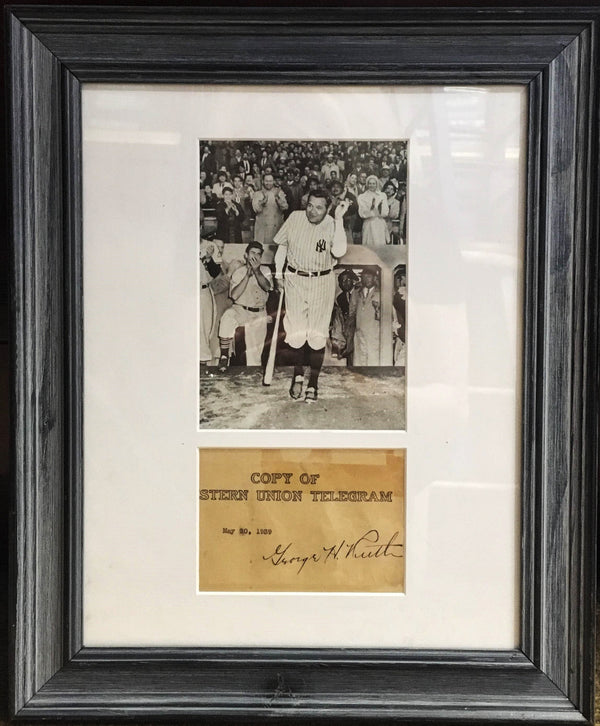 NY Yankees' Babe Ruth 1939 Western Union Telegram Autograph -w/CoA- $20K APR!!+