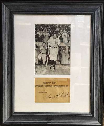 Copy of Western Union Telegram Signed by Babe Ruth w/Photo Framed Matted - $10K VALUE