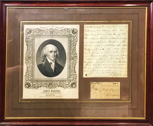 James Madison's Handwritten Letter to Charles Grymes, 1793 with Portrait, Framed - $30K VALUE*