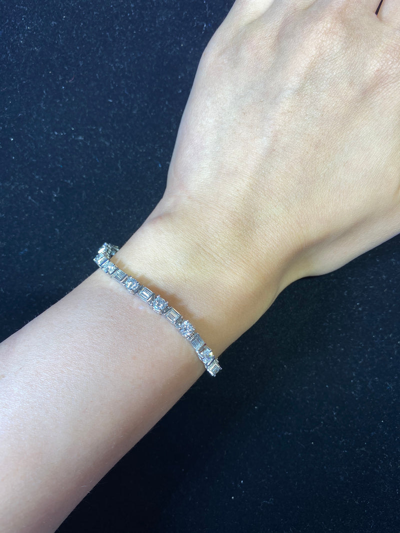 Tiffany Quality Platinum 57 Rounds/Baguette Diamond 16cts Bracelet w $120K COA}