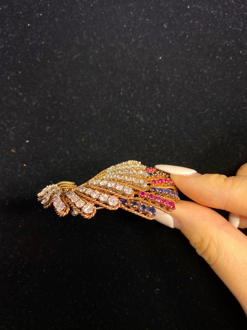 Vintage 1940's VCA-style Diamond, Ruby, & Sapphire Brooch in Rose Gold - $40K VALUE
