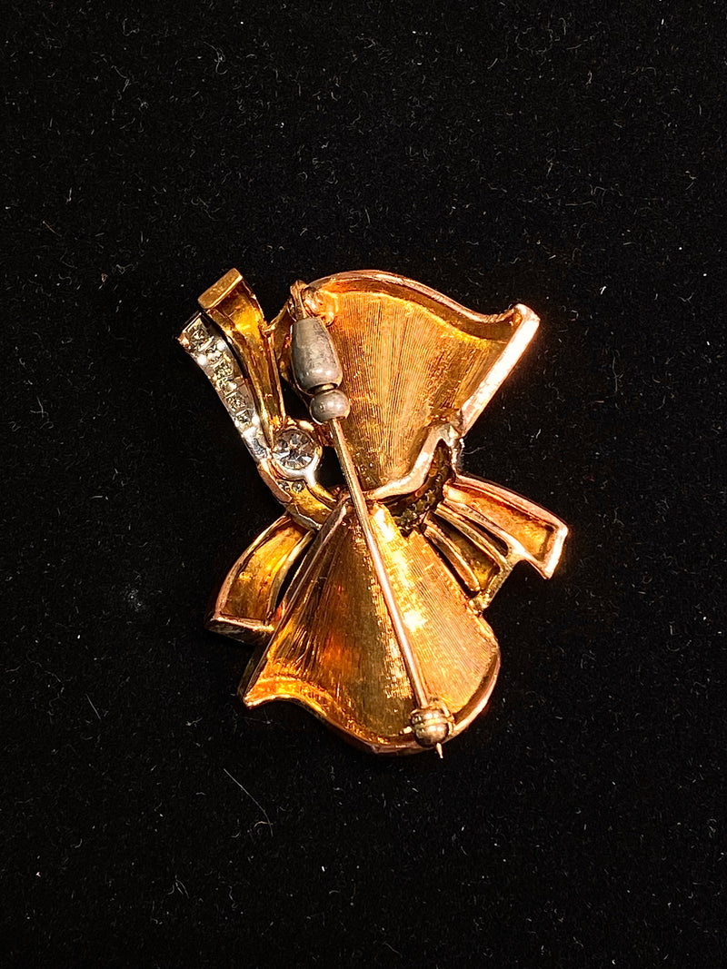 1940s Vintage White/Yellow Gold Fluted 30 Diamonds Bow Brooch/Pin w $25K COA !!}