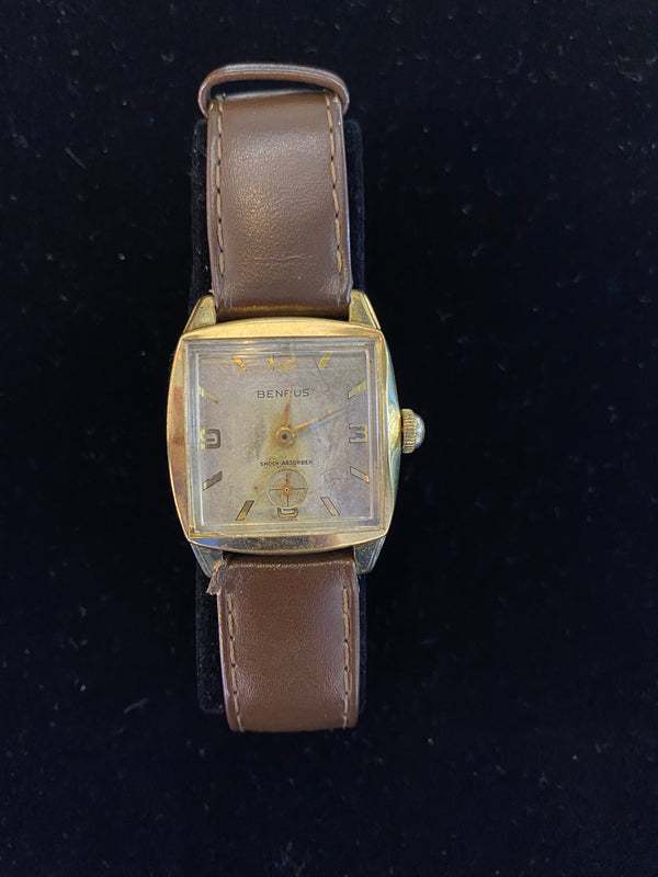 BENRUS VINTAGE ART DECO INSPIRED MEN'S WATCH! CIRCA 1940S/50S!  –$4K APR w/CoA!|