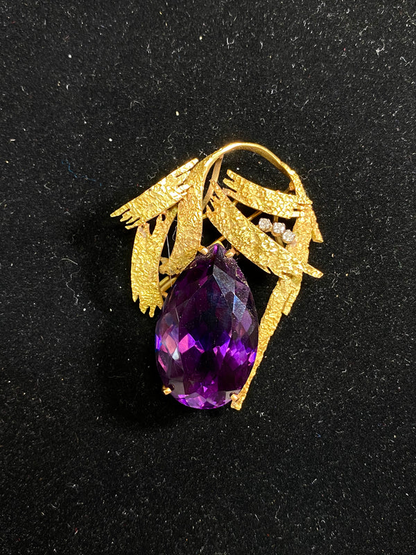 Intricate Handcraft 18KYG 60 cts Amethyst/ 3 Diamonds Brooch/Pendant w $10K COA}