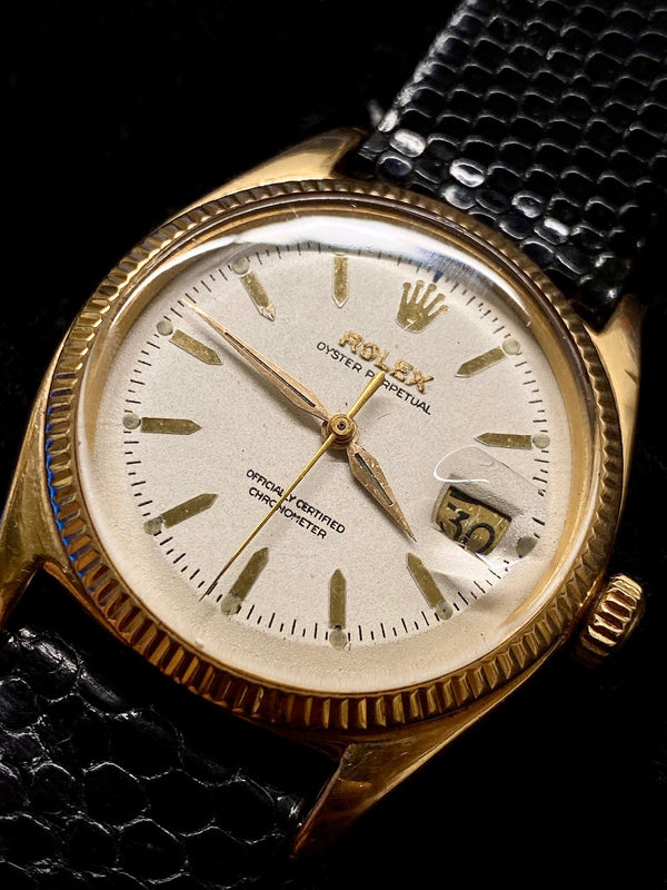 ROLEX Rare C. 1955 18K Pink Gold Vintage Oyster Perpetual DateJust Ref. 6605 - $30K Appraisal Value! ✓