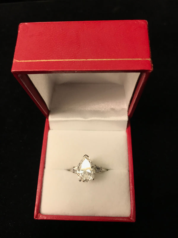 BEAUTIFUL 3-Diamond Pear Shaped Engagement Ring on Platinum - $95K Appraisal Value! ✓