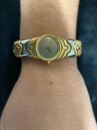 BVLGARI Parentesi Two-Tone 18k Yellow Gold And Stainless Steel Ladies Cuff Wristwatch - $30K Appraisal Value! ✓