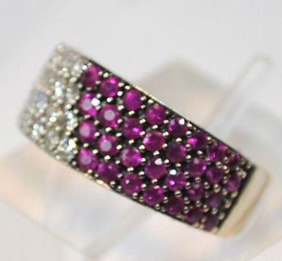Contemporary Designer 2 Carat Diamond & 2.4 Carat Ruby Statement Ring in White Gold - $8K VALUE