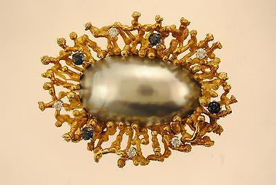 Original Dunay Mabe Pearl Brooch with Diamond and Sapphire in 18K Yellow Gold - $40K VALUE