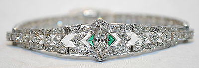 1930s Vintage 8 Carat Diamond & Emerald Bracelet in Platinum - $50K VALUE