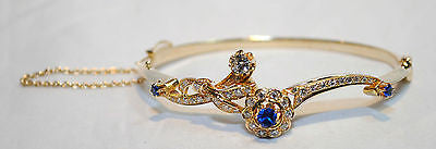 1930s Vintage Designer Sapphire/Diamond Floral Bracelet in 14K Yellow Gold - $30K VALUE