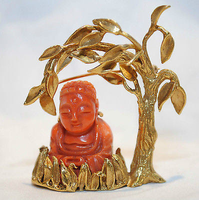 1960s Vintage Boris Le Beau Designer Coral Buddha Brooch in 18K Yellow Gold - $20K VALUE