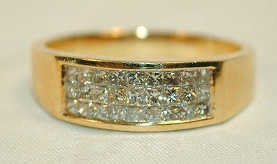 Men's Illusion-Set Diamond Ring in Solid 14K Yellow Gold - $8K VALUE