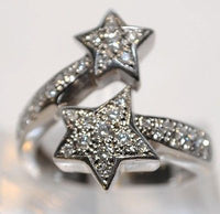 Contemporary Pave Diamond Bypass Star Ring in Solid 14K White Gold - $8K VALUE