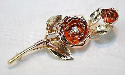 1950s Diamond Rose Brooch in Solid 14K Yellow & Rose Gold - $5K VALUE