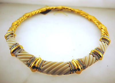 1970s T.U.R.I. Design 5 Carat Diamond & White Bakelite Necklace in 18K Yellow Gold - $60K VALUE