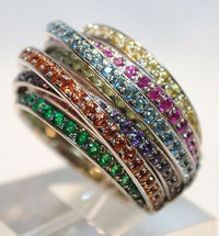 Contemporary De Grisogono Designer Allegra Ring in 18K White Gold with Blue Topaz, Peridot, Emerald, & Sapphire Gemstones - $20K VALUE