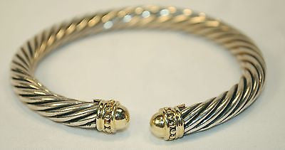 Contemporary David Yurman 14K Yellow Gold & Sterling Silver Cable Cuff Bracelet - $4K VALUE