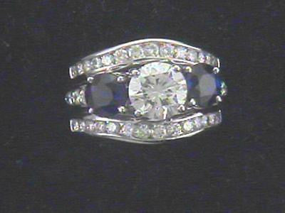 Brilliant Cut Diamond & Sapphire Ring in Platinum Mounting - $50K VALUE