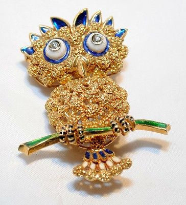 1970s Designer 18K Yellow Gold Owl Brooch with Enamel & Diamonds - $15K VALUE