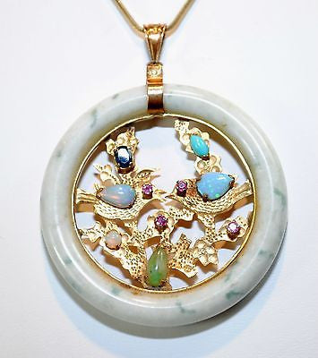 1960s Vintage Nephrite & Multi-Gemstone Circle Pendant in 14K Yellow Gold - $10K VALUE